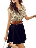 cheap Women's Dresses-Women's Cute Butterfly Sleeve Skater Dress - Polka Dot, Ruffle Pleated High Rise Mini
