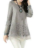 cheap Fashion Scarves-Women's Basic Plus Size Puff Sleeve Cotton Loose Blouse - Solid Colored Lace / Layered / Spring / Fall