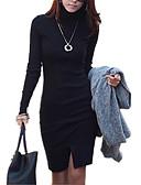 זול טייצים-שחור גולף א-סימטרי מפוצל, אחיד - שמלה נדן כותנה סגנון רחוב בגדי ריקוד נשים