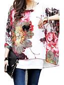 billige Bluse-Flagermuseærmer Overdimensionerede Dame - Blomstret Bluse