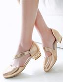 cheap Women's Trench Coats-Women's / Girls' Shoes Leatherette Spring / Summer Chunky Heel / Block Heel Gore Silver / Golden / Dress
