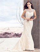 cheap Wedding Dresses-Sheath / Column Bateau Neck Court Train Lace / Tulle Made-To-Measure Wedding Dresses with Appliques / Button by LAN TING BRIDE® / Open Back