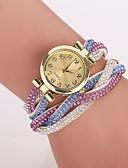 cheap Fashion Watches-Women's Quartz Bracelet Watch Imitation Diamond Casual Watch PU Band Flower Leopard Bohemian Fashion Blue Brown Green Pink Multi-Colored