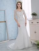 baratos Vestidos de Casamento-Sereia Decote V Cauda Corte Renda / Cetim Vestidos de casamento feitos à medida com Cristais / Apliques / Renda de / Cintilante e Brilhante