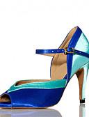 "cheap Women's Blouses-Women's Latin Samba Salsa Satin Sandal Heel Indoor Performance Professional Beginner Practice Buckle Customized Heel Pink Blue 3"" - 3 3/4"""