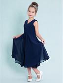 hesapli Çocuk Nedime Elbiseleri-A-Şekilli V Yaka Diz Altı Şifon Haç / Kırma Dantel ile Çocuk Nedime Elbisesi tarafından LAN TING BRIDE® / Doğal