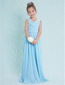 cheap Junior Bridesmaid Dresses-Sheath / Column V Neck Floor Length Chiffon Junior Bridesmaid Dress with Criss Cross / Ruched by LAN TING BRIDE® / Natural