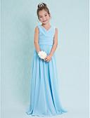 hesapli Çocuk Nedime Elbiseleri-Sütun V Yaka Yere Kadar Şifon Haç / Kırma Dantel ile Çocuk Nedime Elbisesi tarafından LAN TING BRIDE® / Doğal