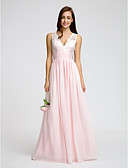 cheap Bridesmaid Dresses-A-Line V Neck Floor Length Chiffon / Lace Bodice Bridesmaid Dress with Lace / Sash / Ribbon / Ruched by LAN TING BRIDE® / Open Back