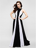 cheap Prom Dresses-Sheath / Column Jewel Neck Floor Length Chiffon Color Block Prom / Formal Evening Dress with Pleats by TS Couture®
