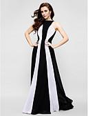 hesapli Gece Elbiseleri-Sütun Taşlı Yaka Yere Kadar Şifon Pileler ile Balo / Resmi Akşam Elbise tarafından TS Couture®