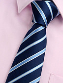cheap Men's Ties & Bow Ties-Men's Party / Work / Basic Polyester Necktie - Striped / Blue