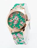 זול שעונים אופנתיים-בגדי ריקוד נשים קווארץ שעון יד מכירה חמה סיליקוןריצה להקה פרח יום יומי אופנתי שחור לבן כחול ירוק סגול ורד