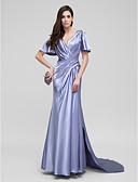 hesapli Gece Elbiseleri-Sütun V Yaka Uzun Kuyruk Streç Saten Yan Drape / Haç ile Resmi Akşam Elbise tarafından TS Couture®