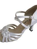 baratos Calças Femininas-Mulheres Sapatos de Dança Latina Cetim Sandália Salto Personalizado Sapatos de Dança Branco / Preto / Amêndoa / Interior