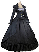 cheap Historical & Vintage Costumes-Victorian Medieval Square Neck Costume Women's Dress Party Costume Masquerade Black Vintage Cosplay Cotton Long Sleeve Ankle Length Long Length Ball Gown Plus Size Customized