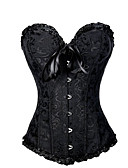 cheap Women's Dresses-Women's Cotton Lace Up Overbust Corset - Jacquard, Print