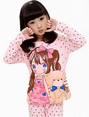baratos Roupas de Meninas-Para Meninas Desenho Estampado Manga Longa Algodão Conjunto