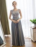 hesapli Özel Davet Elbiseleri-Sütun Scoop Boyun Yere Kadar Dantelalar / Saten Dantel ile Balo / Resmi Akşam Elbise tarafından / Açık Sırtlı