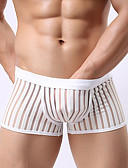cheap Men's Exotic Underwear-Men's Super Sexy Boxer Briefs - Mesh, Striped Mid Waist