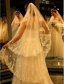 olcso Menyasszonyi fátyol-Egykapcsos Csipke szegély Menyasszonyi fátyol Katedrális fátylak val vel Hímzés Csipke / Tüll / Angyal / Vízesés szabású