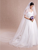 cheap Wedding Slips-Two-tier Cut Edge Wedding Veil Cathedral Veils with 118.11 in (300cm) Tulle