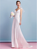 cheap Wedding Dresses-Sheath / Column V Neck Sweep / Brush Train Charmeuse Made-To-Measure Wedding Dresses with Lace by LAN TING BRIDE®