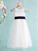 hesapli Elbiseler-A-Şekilli Taşlı Yaka Diz Altı Dantelalar / Tül Fiyonk / Kurdeleler / Pileler ile Çiçekçi Kız Elbisesi tarafından LAN TING BRIDE®