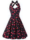cheap Vintage Dresses-Women's Going out Vintage Cotton A Line Dress - Fruit Cherry, Print Halter Neck