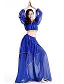 hesapli Göbek Dansı Giysileri-Göbek Dansı Kıyafetler Kadın's Performans Şifon Payet Kolsuz Düşük Top / Etek