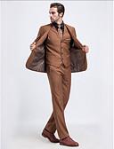 ieftine Fracuri-Khaki Solid Fit Croit Serge Costum - Cresătură Un singur rând, un nasture