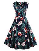 رخيصةأون فساتين مطبوعة-فستان نسائي قياس كبير عصري عتيق طباعة - قطن طول الركبة ورد رقبة مربعة مناسب للخارج