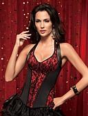 זול מחוכים-בגדי ריקוד נשים קשירת רצועות בד מחוך מתחת לחזה מחוך מעל החזה מידה גדולה טלאים - בינוני (מדיום) פוליאסטר ניילון אדום