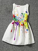 hesapli Gömlek-Çocuklar Genç Kız Çiçek Desen Kolsuz Elbise Beyaz