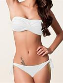 cheap Women's Lingerie-Women's Bandeau Bikini,Lace Up / Solid Nylon / Spandex White / Blue / Green / Yellow / Orange / Black / Peach