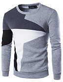 cheap Men's Jackets & Coats-Men's Active Long Sleeve Sweatshirt - Color Block Patchwork Round Neck Black L / Fall / Winter