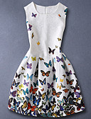 cheap Girls' Tops-Kids Girls' Basic Sweet Daily Butterfly Floral Print Sleeveless Cotton Dress White