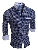 cheap Men's Shirts-Men's Cotton Slim Shirt - Plaid Classic Collar / Long Sleeve
