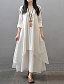 cheap Women's Dresses-Women's Plus Size Chinoiserie Cotton A Line Loose Dress - Solid Colored White Maxi
