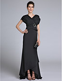 cheap Mother of the Bride Dresses-Sheath / Column V Neck Sweep / Brush Train Chiffon Mother of the Bride Dress with Beading / Criss Cross by LAN TING BRIDE®