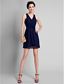 Χαμηλού Κόστους Φορέματα Παρανύμφων-Γραμμή Α Λαιμόκοψη V Κοντό / Μίνι Σιφόν Φόρεμα Παρανύμφων με Πλισέ με LAN TING BRIDE®