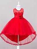 billige Blomsterpigekjoler-Pigens Kjole I-byen-tøj Ensfarvet, Polyester Sommer Uden ærmer Blomster Rosette Hvid Rød Lys pink