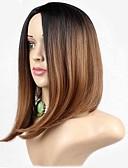 billige Dame Yttertøy-Syntetiske parykker Rett Syntetisk hår Mørke røtter / Naturlig hårlinje Brun Parykk Dame Medium Lengde Brun