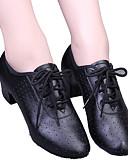 Недорогие Детская танцевальная одежда-Жен. Обувь для модерна / Бальные танцы Дерматин На каблуках Шнуровка / С отверстиями На низком каблуке Танцевальная обувь Черный / Красный