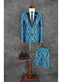 billige Jakkesæt-Havblå Mønster Skræddersyet Polyester Jakkesæt - Spidsrevers Enkeltbrystet med én knap / Mønster / tryk / Suits