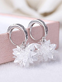 tanie Dwuczęściowe komplety damskie-Damskie Kryształ Kolczyki - Srebro standardowe, Srebrny Kwiat List, Moda Biały Na Ślub Impreza Codzienny