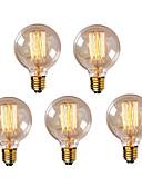 billige Herreblazere og dresser-HRY 5pcs 40W E26 / E27 G95 Varm hvit 2300k Kontor / Bedrift Mulighet for demping Dekorativ Glødende Vintage Edison lyspære 220-240V