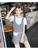 baratos Calças e Saias-Mulheres Casual Blusa Conjunto Sólido Listrado