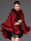cheap Women's Fur & Faux Fur Coats-Long Sleeve Faux Fur Casual Women's Wrap With Feathers / Fur Capes
