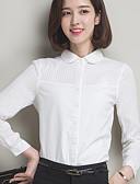 abordables Camisas para Mujer-Mujer Tallas Grandes Algodón Camisa, Cuello de Peter Pan Un Color / Primavera / Otoño